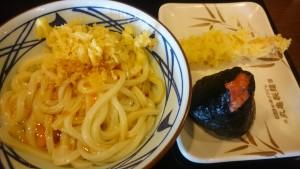 釜玉うどん+えび天+明太子おむすび-丸亀製麺可児店1