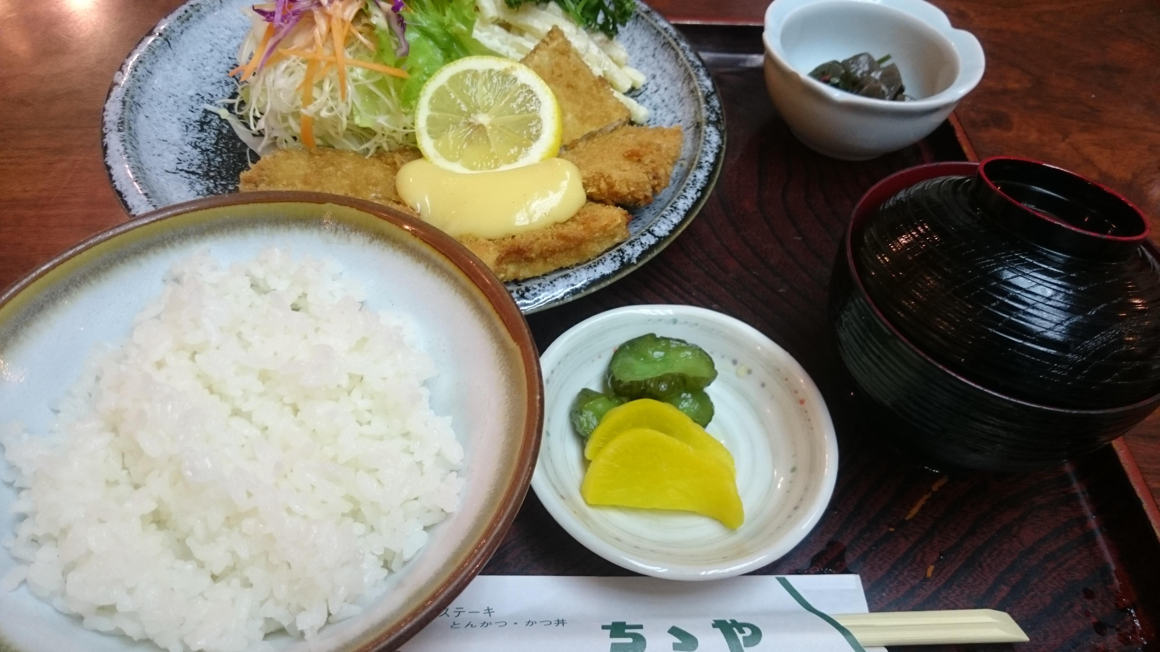 魚フライ定食-ファミリーレストランちちや