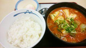 豆腐キムチチゲ膳半熟玉子1-松屋多治見店