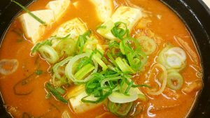 豆腐キムチチゲ膳半熟玉子2-松屋多治見店