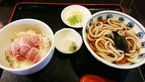 マグロ中おち丼うどん付-甚五郎